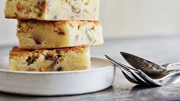 blondies and salted pistachios and lemon