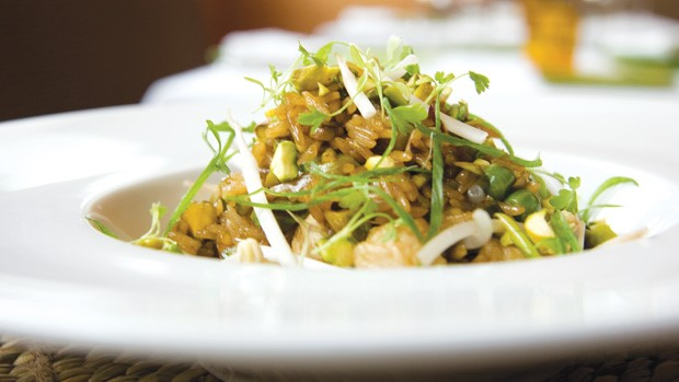 "Chicken And Pistachio ""Fried Rice"" With Fresh Ginger And Chinese Hot Mustard by Shawn McClain"
