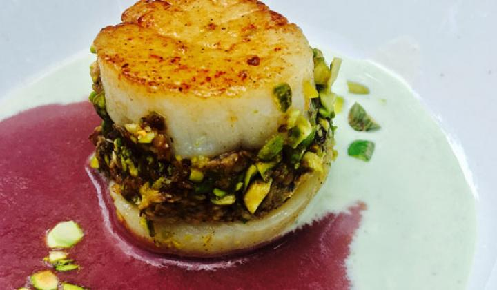 Sea Scallop – Pistachio Crust with Wild Mushroom - Red Wine Fumet