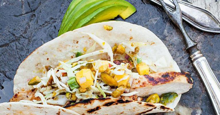GRILLED CHICKEN TACOS WITH MANGO PISTACHIO SLAW